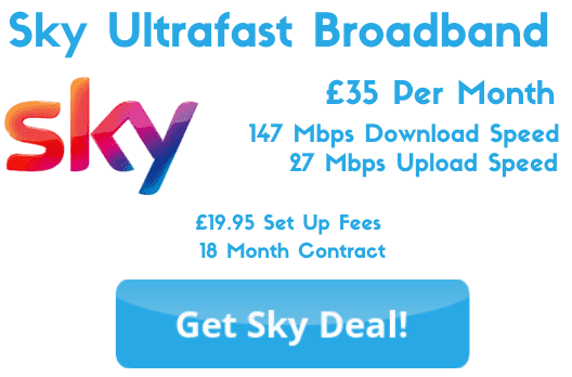 Sky Ultrafast Broadband from £35 Per Month with 147 Mbps download speeds and 27 Mbps upload speeds.