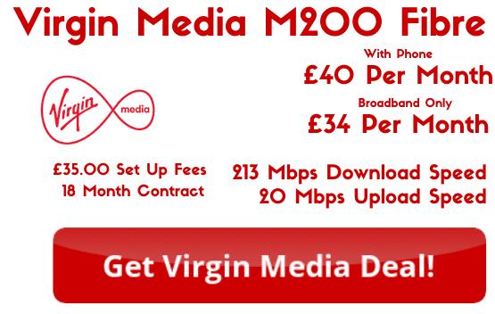 Virgin Media M200 Broadband from £34 per month